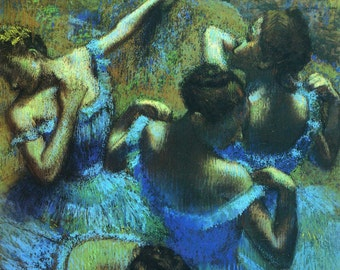 Blue Dancers by Edgar Degas, in various sizes, Giclee Print on Canvas