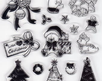 Christmas Theme CLEAR STAMP SHEET for Card Making Scrapbooking Embellishment Decor