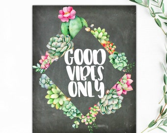 Good Vibes Only Chalkboard Succulents Floral Typography Art Print 8.5X11 Premium Matte Poster