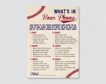 Baseball Baby Shower What's in Your Phone Game - Printable Phone Raid Game - Vintage Baseball Themed What's in Your Phone Game - 0027