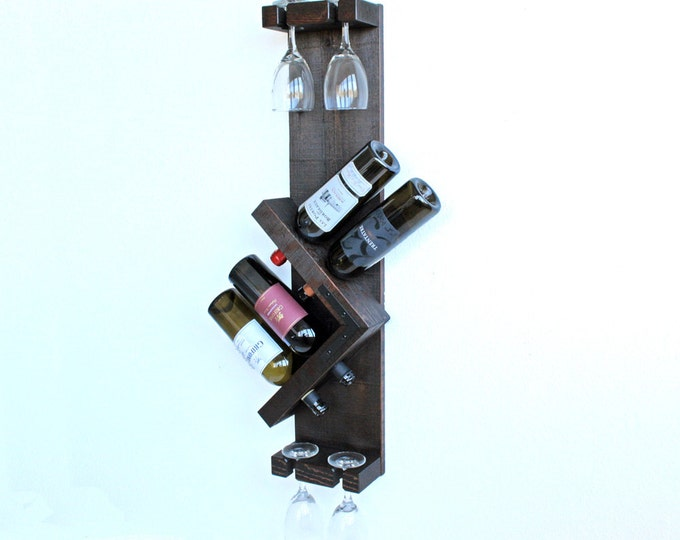 Wine Rack, Wall Mounted Wine Rack, Wood Wine Rack, Vertical Wine Rack