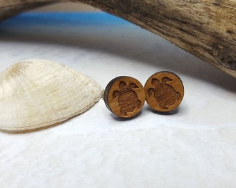 Sea Turtle Studs ~ 5th Anniversary Gift For Female Activist ~ Eco Friendly Jewelry For A Cause ~ Water Is Life, Sacred Totem Tribal Earrings