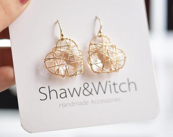 Heart Hoop Earrings / Organic Gold Heart Earrings / Romantic Jewelry / Love Jewelry / Christmas gift