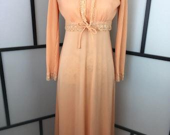 Orange Formal Dress, 1970s Vintage Dress, Maxi Evening Dress, 70s Prom Dress, Spring Dress, Small