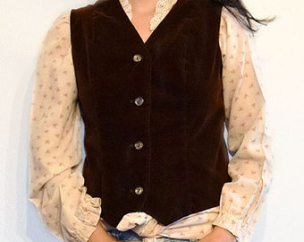 Vintage Brown Velour Vest