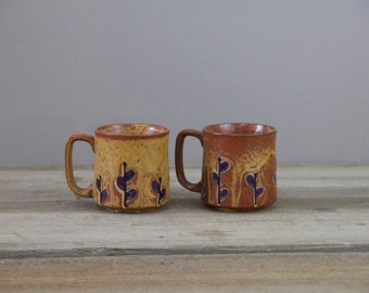 Pair of vintage Japanese Stoneware Mugs | Rust with blue flowers