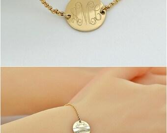Monogram Disc Bracelet, Personalized Disc Bracelet, Initial Disc Gold, Rose Gold, Sterling Silver, Name Disc Bracelet, Monogram Bracelet