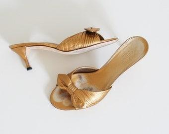 GUCCI gold kitten heel bow mules / uk 4 us 6.5  de 37