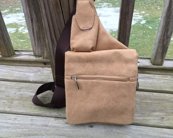 Backpack Brown Suede Leather Cross body