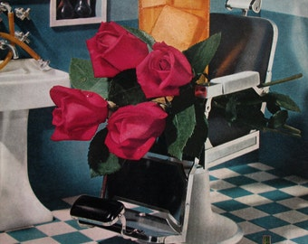 1951 Four Roses Bourbon Whiskey on Ice Ad - 1950s Barber Shop Chair & Checkered Floor - Vintage Alcohol Advertising