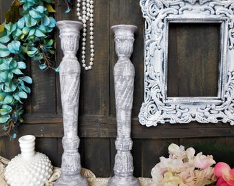 Lavender Tall Candle Holders, French Country Cottage, Shabby Chic, Hand Painted