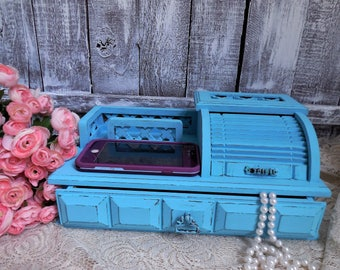 Blue Desk Organizer, Teal, Turquoise, Vintage Distressed Shabby Chic Phone and Business Card Holder