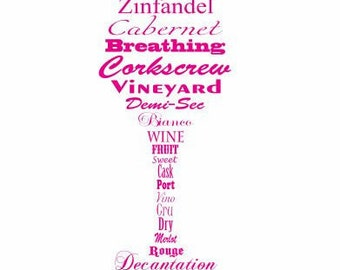 Wine Glass Decal without Quote: Wine Lovers Decal, Wine Decal, Wine Glass Decal, Wine Glossary, Kitchen Decor, Wine enthusiasts, Wine decor