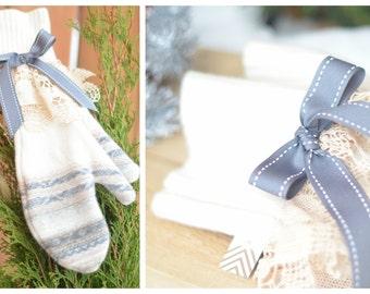 Shabby Chic Wool Mittens, Handmade shabby mittens, Bow mittens, Long mittens
