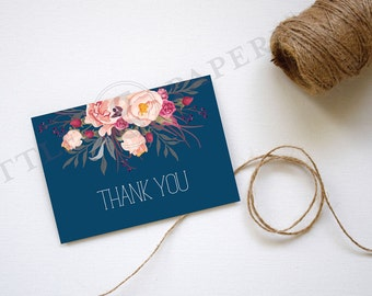 Thank You Card, Pink Floral, Navy, Printable, INSTANT DOWNLOAD