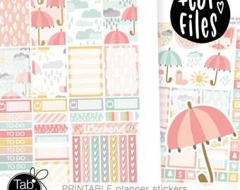 APRIL SHOWERS PRINTABLE stickers fits Happy Planner. Spring colors, rain drops, clouds, umbrella, rainy weather, sun weekly kit.