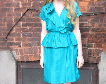 Vintage Nancy Fong Peplum Dress | Teal green ruffle dress | Wrap dress silk dress