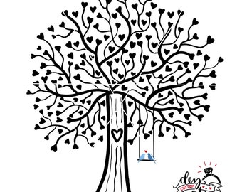 Tree SVG | Lovebirds SVG | Heart tree svg file | Tree with swing and birds svg file | DXF file | svg files for Cricut and Silhouette
