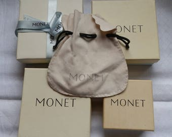 Four 1980's MONET Cardboard Jewellery Boxes and Pouch