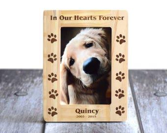 Pet memorial frame- Dog picture frame- wooden frame- pet picture frame- forever in our hearts- In our hearts forever- Wood burned frame