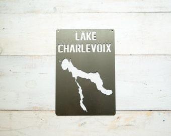 Lake Charlevoix Steel Map Michigan