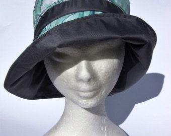 women hat, rain, waterproof, grey with flowers design, all weather
