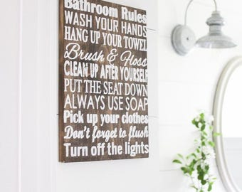 Bathroom Rules Wood Sign. Wooden signs. Rustic signs. farmhouse decor. Rustic bathroom decor. bathroom decor. rustic home decor.
