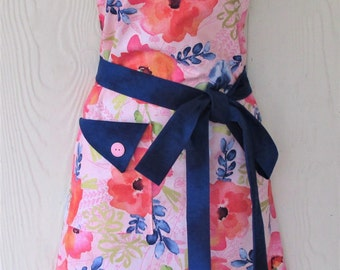Women's Floral Apron, Blue and Pink Flowers, Retro Full Apron, Vintage Style, KitschNStyle