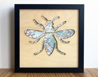 Manchester Bee 'Map', unframed lasercut plywood art, Map Art Print, Manchester gift, Manchester wall art, Location Gift, lasercut wood