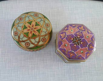Vintage Set of Two Meister Tins Floral Tins Candy Tins Made in Brazil