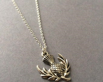Scottish Thistle Necklace, Thistle Necklace, Charm Necklace,