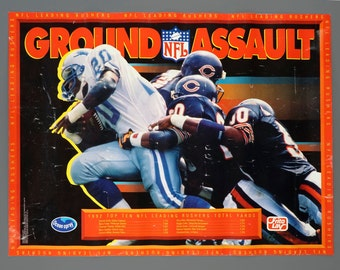 1992 Barry Sanders Ground Assault Detroit Lions Poster 16.5 x 22 Vintage NFL Poster
