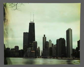 1970s Color Photograph Chicago Skyline Lake Michigan Vintage Size 16 x 20 Photo
