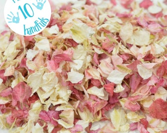 1 Litre approx 10 guests Natural Wedding Confetti Eco-Friendly Biodegradable Dried Delphinium Petals Raspberry / Vanilla, in Organza Bags