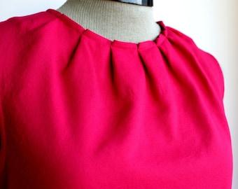 Fuchsia, raspberry red top, folded neckline, sleeveless