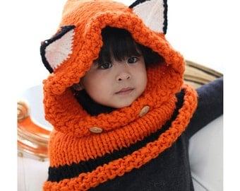 Handmade Kids Children Crochet Winter Hats Knitted Fox Hat for Girls and Boys Super Cute Animal Design Hats