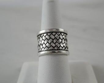 Sterling Silver Ring for Women, Sterling Silver Ring Band, Basketweave Design, Adjustable Sterling Silver Ring, Boho Ring, Wide Band Ring
