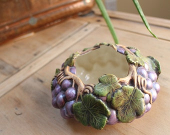 vintage Grape vine bowl hand painted british Jeanie porcelain decorative dish