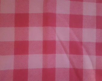Pink checkered plaid flannel headband