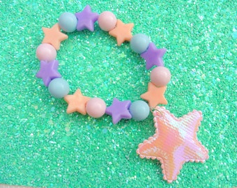 Fairy Kei Pastel Beaded Star Bracelet
