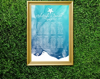 The CHRISTY . Watercolor Seating Chart Wedding Sign . PRINTED or PDF . Teal Blue Navy Table Names Sign . Destination Island Resort Sea