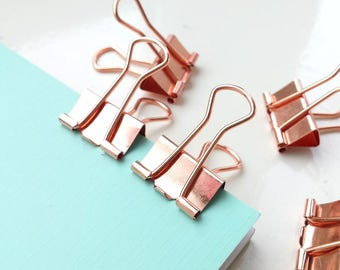 Rose gold binder clips with a rose gold handle - available in 2 sizes, planner clips, journaling clips