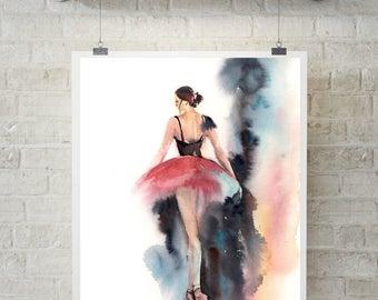 Ballerina Fine Art Print, Watercolor Painting Print, Ballet Painting, Ballerina in Pink, Modern Wall Art, Dance Art, Abstract Background