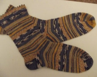 Blue and Yellow Hand cranked socks