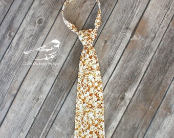 Boys size 5 popcorn tie ready to ship kids tie one of a kind cream tan photo prop movies white