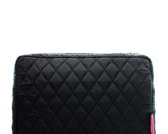 Solid Black Quilted Monogrammed Cosmetic Case Toiletry Bag