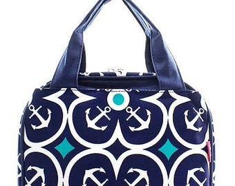 Preppy Anchor Print Monogrammed Lunch Box Navy Blue Trim