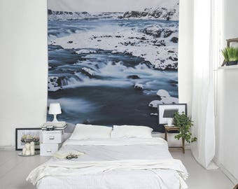 Icelandic River, Landscape Tapestry, Winter Landscape, River Tapestry, Snow Wall Art, Wall Blankets, Home Decoration