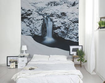 Falling Water Wall Hangings, Large Wall Art, Iceland Photo, Winter Landscape, Snow Tapestry, Nature Tapestry,
