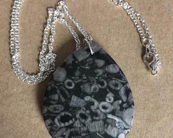 Fossil Jasper Gemstone Pendant Necklace
